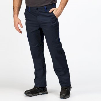 Men's Contrast Cargo Trousers Navy New Royal Blue