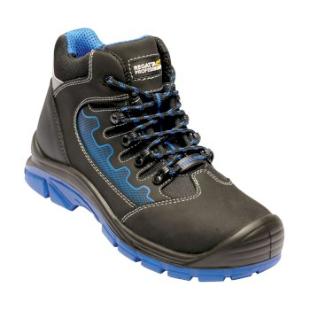 Men's Region Steel Toe Cap Safety Work Boots Black Oxford Blue