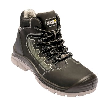 Men's Region Steel Toe Cap Safety Work Boots Black Grey