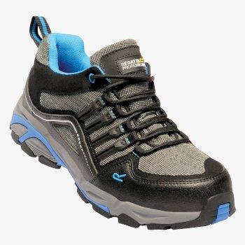 Men's Convex Steel Toe Cap Safety Trainer Black Oxford Blue