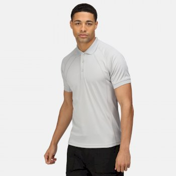 Men's Coolweave Wicking Polo Shirt Silver Grey