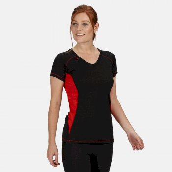 Women's Beijing Lightweight Cool and Dry T-Shirt Black Classic Red