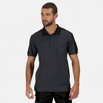 Men's Contrast Coolweave Quick Wicking Polo Shirt Seal Grey Black