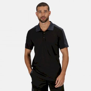 Men's Contrast Coolweave Quick Wicking Polo Shirt Black Seal Grey