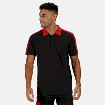 Men's Contrast Coolweave Quick Wicking Polo Shirt Black Classic Red