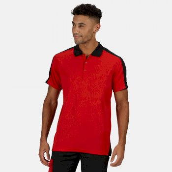 Men's Contrast Coolweave Quick Wicking Polo Shirt Classic Red Black