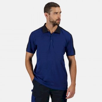 Men's Contrast Coolweave Quick Wicking Polo Shirt New Royal Navy