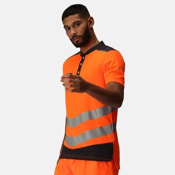 Men's Tactical Hi Vis Reflective Polo Work Shirt Orange Grey