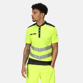 Men's Tactical Hi Vis Reflective Polo Work Shirt Yellow Grey