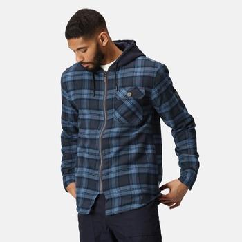 Men's Seige Hooded Shirt Jacket Navy Check