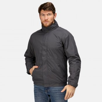 Men's Dover Fleece Lined Waterproof Insulated Bomber Jacket Seal Grey Black