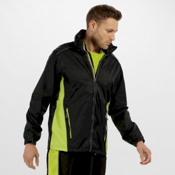 Men's Moscow Waterproof Shell Jacket Black Lime Zest