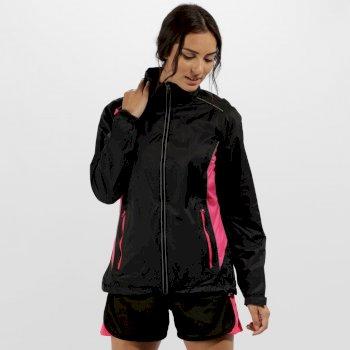 Women's Moscow Waterproof Shell Jacket Black Hot Pink
