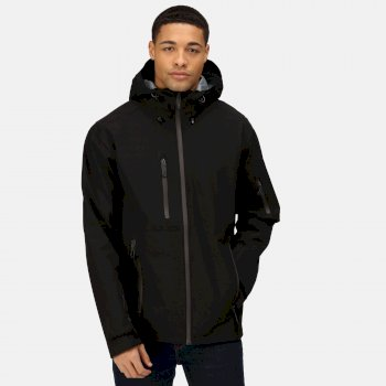 Men's Triode 3 Layer Waterproof Shell Jacket Black Seal Grey