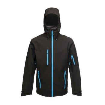 TRW481_68N: Mens Triode 3 Layer Waterproof Shell Jacket Black Methyl Blue