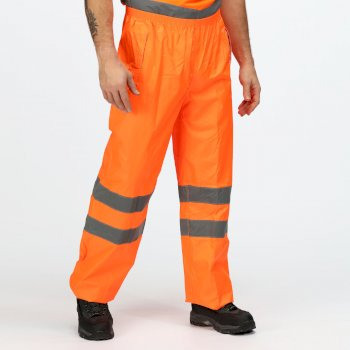 Men's Hi Vis Pro Waterproof Reflective Packaway Work Over Trousers Orange