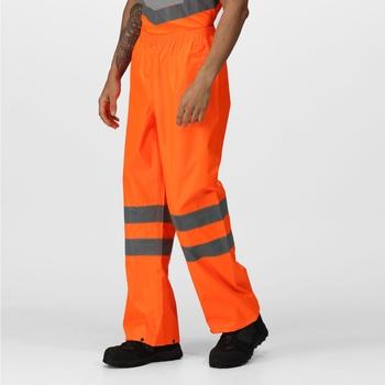 Men's Hi Vis Pro Waterproof Reflective Packaway Work Over Trousers Orange
