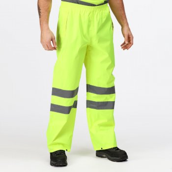Men's Hi Vis Pro Waterproof Reflective Packaway Work Over Trousers Yellow