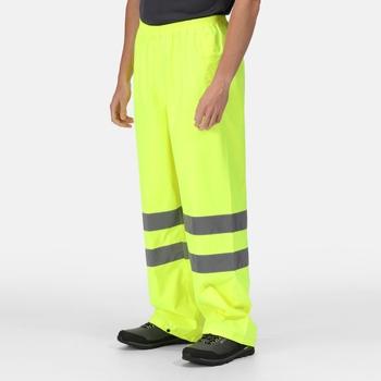 Men's Hi Vis Pro Waterproof Reflective Packaway Work Over Trousers Yellow