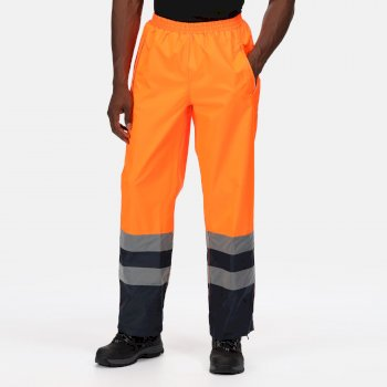 Men's Hi-Vis Pro Waterproof Reflective Work Over Trousers Orange Navy